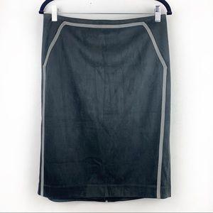 CALVIN KLEIN Gray Velour Pencil Skirt Knee Length